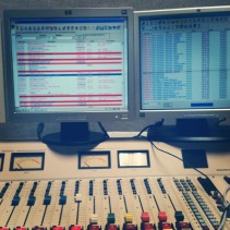 This is a picture I took while putting in song breaks at the radio station